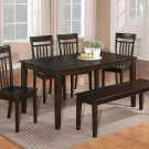 "6PC DINETTE DINING SET TABLE 36X60"" w/4 WOOD SEAT CHAIRS & ONE BENCH IN CAPPUCCINO -SKU C6BEN-CAP-W"