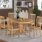 7-PC Easton Oval Dining Table with 6 Wood Seat Chairs in Oak Finish. SKU#: ET7-OAK