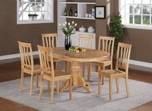 5-PC Easton Oval Dining Table with 4 Wood Seat Chairs in Oak Finish. SKU#: ET5-OAK