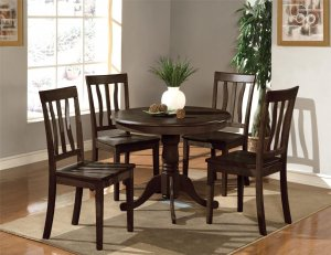 3-PC Antique Dinette Kitchen Table with 2 Wood Seat Chairs in Cappuccino Finished. SKU#: AN3-CAP