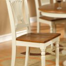 Set of 4 Plainville dining chairs with wood seat in Buttermilk and Saddle Brown finish