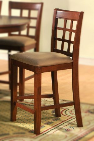Set of 8  Elegant counter height chairs with microfiber upholstery seat in Brown finish.