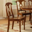 Set of 2 Napoleon style dining chair with plain wood seat in Saddle Brown finish