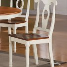 Set of 8 Kenley dinette dining chairs with plain wood seat in buttermilk and saddle brown finish.
