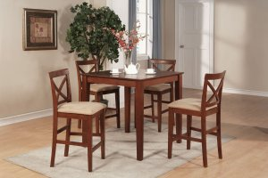 """3-PC Square Counter Height Table size 36""""x36"""" with 2 Microfiber Upholstered Chairs in Brown Finish."""