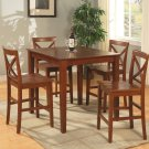 "3-PC Square Counter Height Table size 36""x36"" with 2 Wood Seat Chairs in Brown Finish."