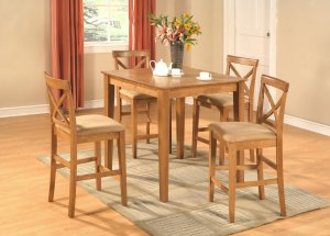 "3-PC Square Counter Height Table 36""x36"" with 2 Microfiber Upholstered Seat Chairs in Oak Finish."