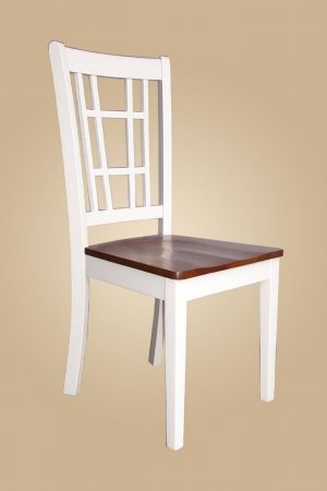 Set of 6 Nicoli dinette kitchen dining chairs with plain wood seat in buttermilk and saddle brown