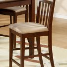 Set of 2 EW Counter Height Chair - Bar Stools with Microfiber Upholstered Seat in Mahogany finish