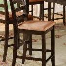 """One counter height chair with white coffee microfiber upholstered in Cappuccino, seat 24"""""""