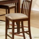 One East West Counter Height Chair - Bar Stools with Microfiber Upholstered Seat in Mahogany finish