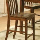 Set of 3 EW Bar Stool - Counter Height Chair with Wood Seat in Espresso - Dark Oak