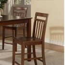 Set of 3 EW Bar Stools - Counter Height Chairs with Wood Seat in Mahogany finish