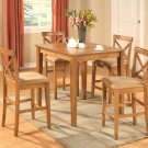 "5-PC Square Counter Height Table 36""x36"" with 4 Microfiber Upholstered Seat Chairs in Oak Finish"