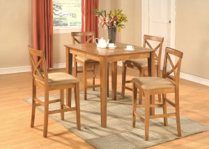 """5-PC Square Counter Height Table 36""""x36"""" with 4 Microfiber Upholstered Seat Chairs in Oak Finish"""