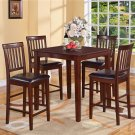 "5-PC Square Counter Height Table 36""x36"" with 4 Faux Leather Seat Chairs in Mahogany Finish"