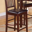Set of 2 Vernon Counter Height Chair with Faux Leather Seat in Mahogany Finish