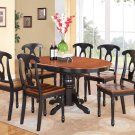 7PC KENLEY OVAL DINETTE KITCHEN DINING TABLE w/6 WOOD SEAT CHAIRS IN BLACK CHERRY SKU: K7-BLK-W