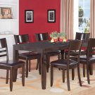 7PC LYNFIELD RECTANGULAR DINETTE DINING SET TABLE w/6 LEATHER CHAIRS IN CAPPUCCINO, SKU: LY7-CAP-LC