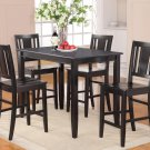 "5PC RECTANGULAR COUNTER HEIGHT SET TABLE 30""X48"" with 4 WOOD SEAT CHAIR IN BLACK, SKU: BU5-BLK-W"