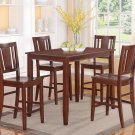 "5PC RECTANGULAR COUNTER HEIGHT SET TABLE 30""X48"" with 4 WOOD SEAT CHAIR IN ESPRESSO, SKU: BU5-ESP-W"