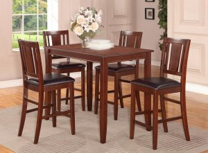 5PC RECTANGULAR COUNTER HEIGHT TABLE 30X48 with 4 LEATHER SEAT CHAIR IN ESPRESSO, SKU: BU5-ESP-LC