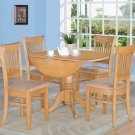 "5-PC  dinette kitchen set, table 42"" round w/4 padded chairs in Oak Finish. SKU#: DV5-OAK-C"