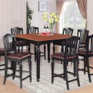9-PC Chelsea Gathering Counter Height Table with 8 Chairs in Black & Brown, SKU#: CH9-BLK-LC