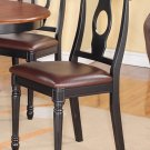 Set of 2 Kenley dinette dining chairs with FAUX LEATHER seat in BLACK and saddle brown finish.