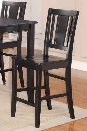 Set of 2 counter height chairs with WOOD SEAT in BLACK, seat 24""