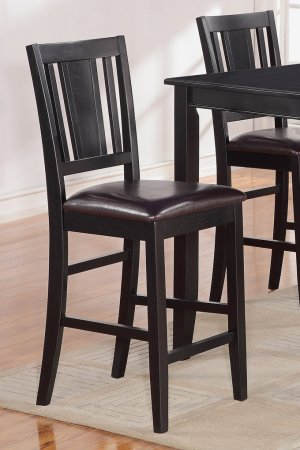 Set of 2 counter height chairs with FAUX LEATHER in BLACK, seat 24""