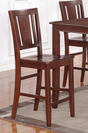 Set of 2 counter height chairs with WOOD SEAT in MAHOGANY, seat 24""