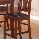 Set of 2 counter height chairs with FAUX LEATHER in MAHOGANY, seat 24""
