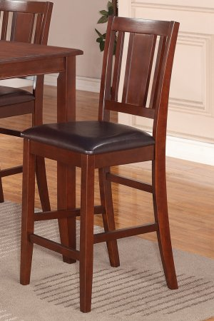 """Set of 4 counter height chairs with FAUX LEATHER UPHOLSTERED SEAT in MAHOGANY, seat 24"""""""