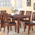 7PC DUDLEY KITCHEN DINING TABLE 36x60 w/6 FAUX LEATHER SEAT CHAIRS IN MAHOGANY, SKU: DU7-MAH-LC