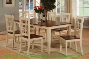 "Nicoli Dinette Kitchen Dining Table Only 36�X66�X30"" in Buttermilk & Brown. SKU: NT-WHI-T"