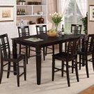 9-PC Dinette Counter Height Table with 8 Wood Seat Chairs in Cappuccino. SKU: LG9-CAP-W