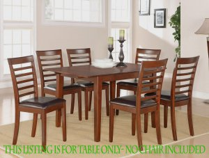 "RECTANGULAR DINETTE KITCHEN TABLE 36x54 with 12"" LEAF IN MAHOGANY, CHAIR NOT INCLUDED. SKU: MT-MAH-T"
