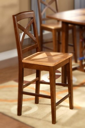 "Set of 2 Napoli counter height chairs with plain wood seat in espresso, 24"" seat height"