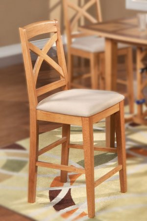 """Set of 6 Napoli counter height chairs with plain wood seat in light oak, 24"""" seat height"""