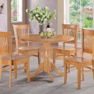"""3-PC  dinette kitchen set, table 42"""" round and 2 wood seat chairs in Oak. SKU: DV3-OAK-W"""