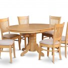 7PC OVAL DINETTE KITCHEN DINING SET TABLE w/6 PADDED CHAIRS IN OAK FINISH, SKU: AVA7-OAK-C