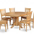 5PC OVAL DINETTE KITCHEN DINING TABLE w/4 WOOD SEAT CHAIRS IN OAK FINISH, SKU: AVA5-OAK-W