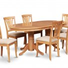 7-PC Dinette Dining Set, Oval Table w/6 Microfiber Upholstered Seat in Oak finish, SKU: VAV7-OAK-C