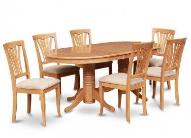 5-PC Dinette Dining Set, Oval Table w/4 Microfiber Upholstered Seat in Oak finish, SKU: VAV5-OAK-C
