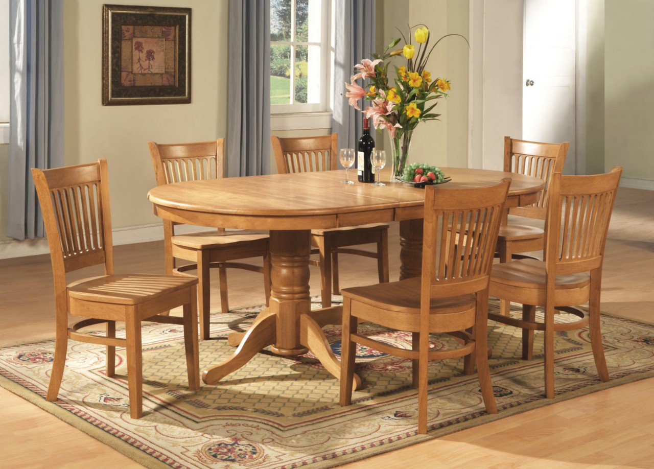 7 pc vancouver oval dining room set table with 6 plain for Dining room tables vancouver