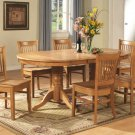7-PC Vancouver Oval Dining Room Set Table with 6 Plain Wood Seat Chairs in Oak.  SKU:  V7-OAK-W
