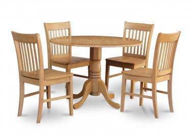 "5PC dinette kitchen set, 42"" round table drop leaf + 4 wood seat chairs in oak. SKU: DNO5-OAK-W"