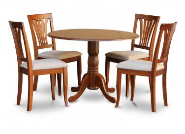 "5PC Dublin 42"" round table w/ drop leaf + 4 Avon padded chairs, saddle brown. SKU: DAV5-SBR-C"