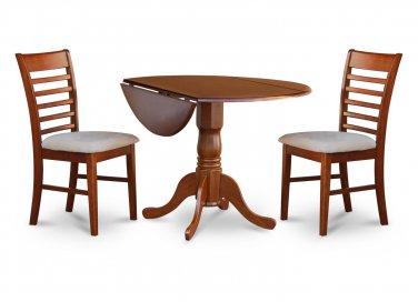 "3PC Dublin 42"" round table w/ drop leaf + 2 Milan cushioned chairs, saddle brown. SKU: DM3-SBR-C"